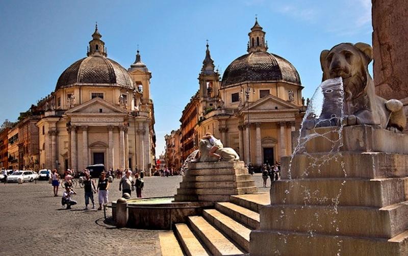 Площадь дель Пополо фонтан